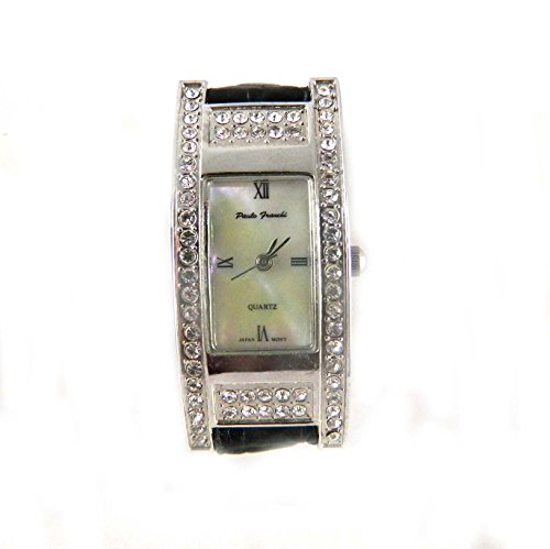 Paulo Franchi Silber Ton Clear Crystal Set Case Echt Perlmutt Zifferblatt schwarz Lederband Armbanduhr