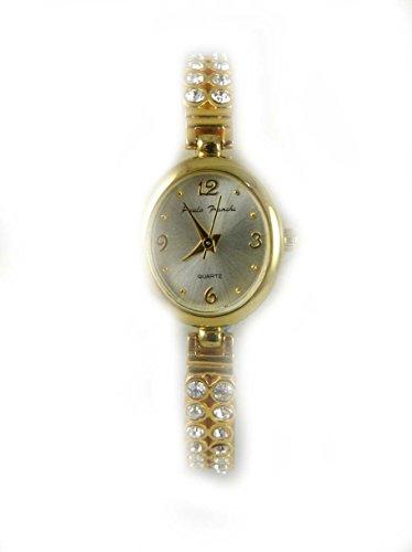 Damen Paulo Franchi Samen oval 2 Reihen Kristall Gold Ton Armband New Geschenkverpackung