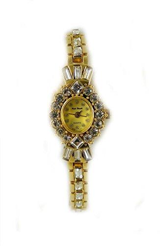 Paulo Franchi Gold vergoldet rund und Baguette Kristall Damen Armband Uhr New Box