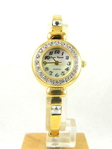 Damen Paulo Franchi vergoldet Kristall Luenette Uhr Echte Mutter von Pearl Zifferblatt New Box