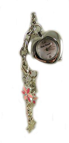 Pretty Ladies Maedchen Silber Ton Paulo Franchi Herz und Emaillierte Blume Charm Armband Uhr Perlmutt Zifferblatt New Box