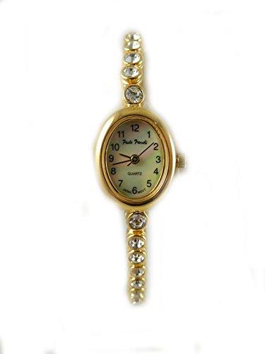 Oval Vergoldet Paulo Franchi Crystal Line Armband Armbanduhr echtem Perlmutt Zifferblatt