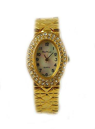 Gross Oval Vergoldet Paulo Franchi Crystal Case Original Mutter von Pearl Zifferblatt gesteppt Armband Armbanduhr
