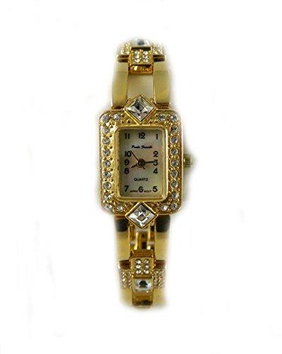 vergoldet Paulo Franchi Original Mutter von Pearl Zifferblatt Echt Kristall Armband Armbanduhr