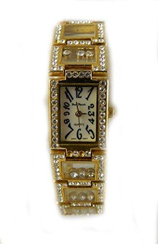 Exquisite verschiedenen Paulo Franchi transparent Kristall und beweglichen Steinen vergoldet Armband Armbanduhr echtem Perlmutt Zifferblatt