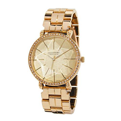 Uhr mit Stern in Zifferblatt Vergoldet Pink und Swarovski Kristalle