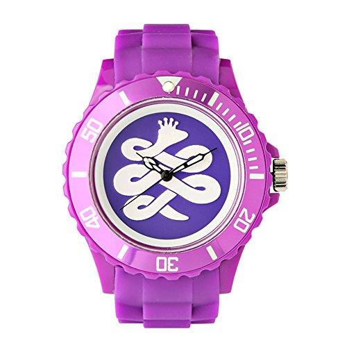 BAEM Armbanduhr grosses Zifferblatt mit Logo und Luenette Gummiband koreanisches Design limitierte Auflage Violett