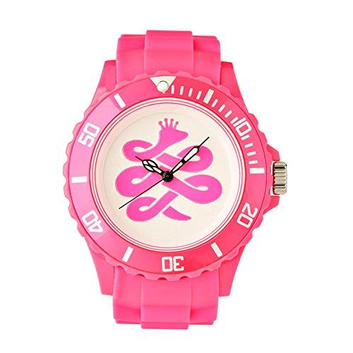 BAEM Armbanduhr grosses weisses Zifferblatt mit Logo und Luenette Gummiband koreanisches Design limitierte Auflage Pink