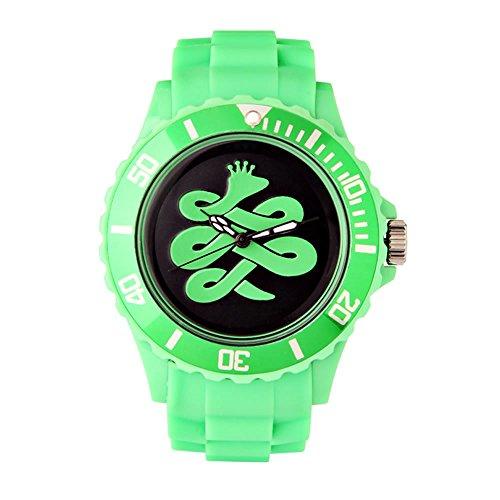 BAEM Armbanduhr grosses Zifferblatt mit Logo und Luenette Gummiband koreanisches Design limitierte Auflage Gruen