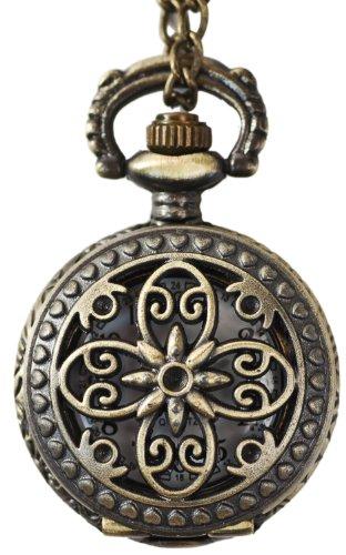 Blumenornament Umhaengeuhr Halskette Bronze