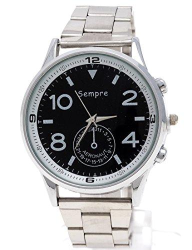 Elegante Herren Uhr in Silber Schwarz