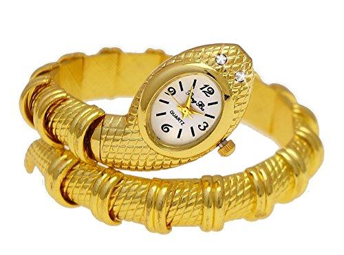 Elegante Snake Damen Spangenuhr in Gold mit Strass