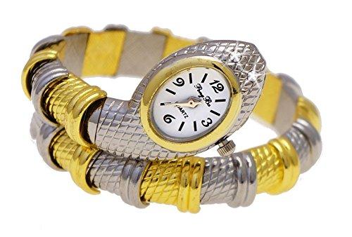 Elegante Snake Damen Spangenuhr in Gold Silber mit Strass