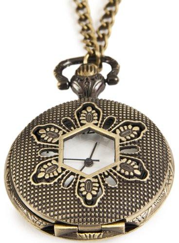 Exklusive Umhaengeuhr Halskette mit Sprungdeckel Ornamente 6 Fenster