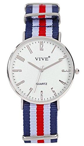 Extraflache Slim Nylon Damen Armband Uhr Silber Rotn