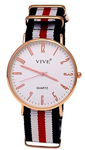 Extraflache Slim Nylon Damen Armband Uhr Rose Gold Blau