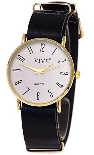 Feine extraflache Damen Armband Uhr Blau Gold