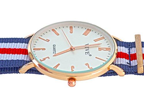 MEGA FLACHE Armbanduhr Slim Rose Gold Blau Nylon