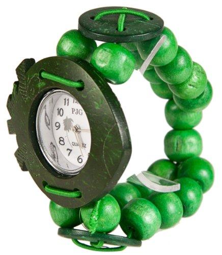 MAMBO Nature Holz Perlen Armband Uhr Gruen