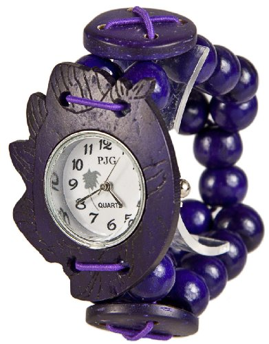 MAMBO Nature Holz Perlen Armband Uhr Lila