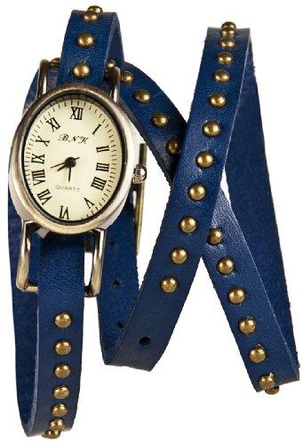 Mambo Wickel Armband Uhr Leder Blau mit Nieten oval