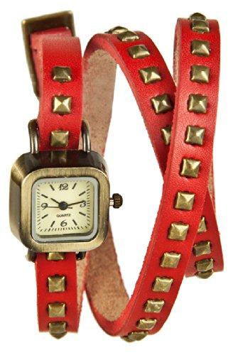 Mambo Wickel Armband Uhr Leder Rot mit Nieten eckig