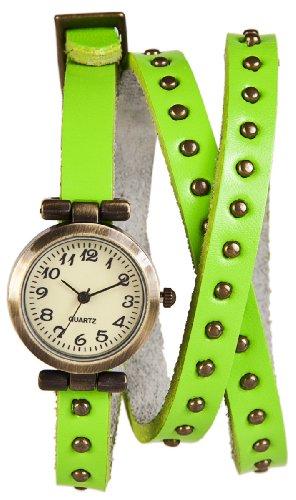 Mambo Wickel Armband Uhr Leder Neon Gruen mit Nieten