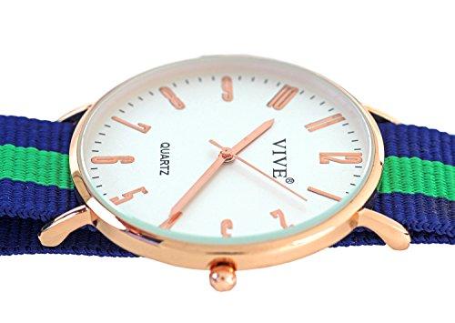 Mega Flache Armband Uhr Slim Rose Gold Gruen Nylon
