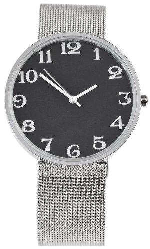 Nordische Armbanduhr Schwarz mit feinem Mesh Armband