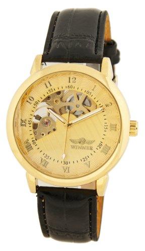 Stilvolle Goldene Skelett Automatik Uhr
