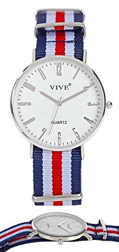 Superflache Damen Armband Uhr Slim Silber Blau Nylon