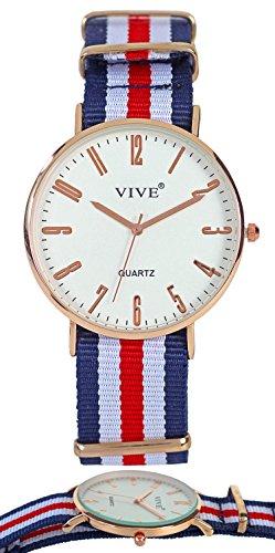 Superflache Damen Armband Uhr Slim Rose Gold Blau Nylon