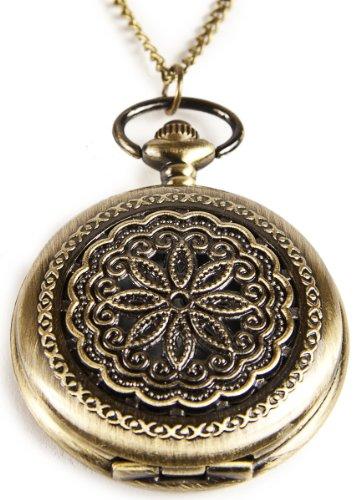 Umhaengeuhr Halskette mit Sprungdeckel Blumen Ornamente