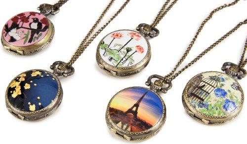 Umhaengeuhr Halskette mit Sprungdeckel versch Motive