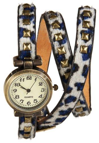 Wickel Armband Uhr Blue Panther mit Nieten