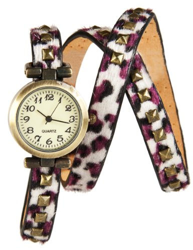 Wickel Armband Uhr Purple White Panther mit Nieten