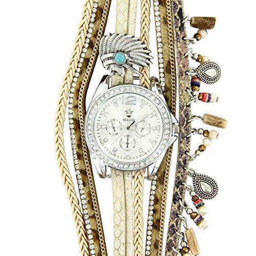 Bellos Montre Femme Cuir beige Diamants CZ Hippie Hippie 397
