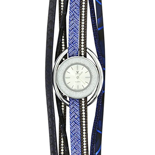 Hippie Bellos Leder blau Diamanten CZ Hippie 2950