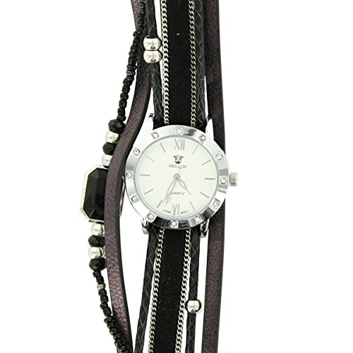 Hippie Bellos Leder schwarz Diamanten CZ Hippie 2978