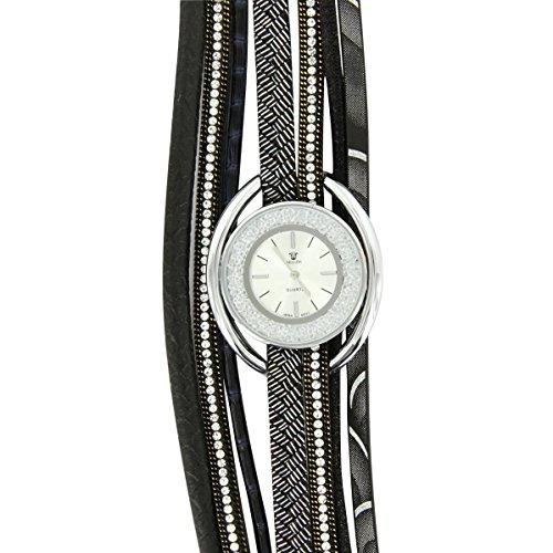 Hippie Bellos Leder schwarz Diamanten CZ Hippie 2928