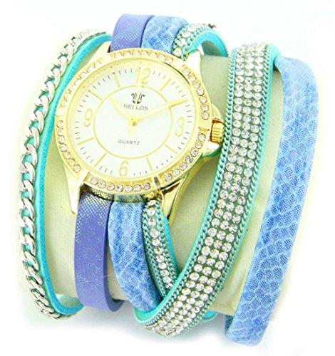 Zeigt Damen Leder in Blau Diamanten CZ Hippie 940