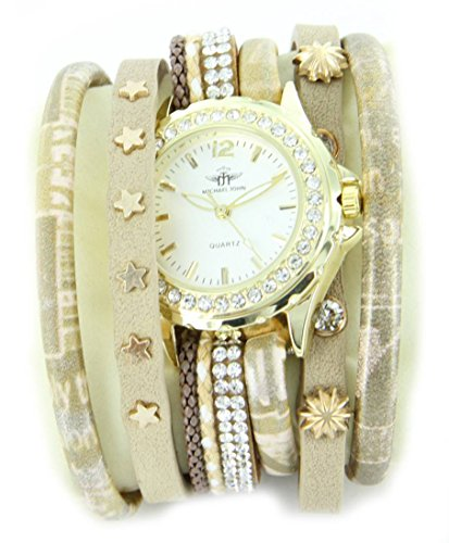 Zeigt pourfemme Leder beige Diamanten CZ Hippie 1565