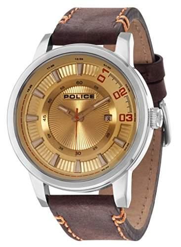 POLICE Herren-Armbanduhr SUNSET Analog Quarz Leder P14375JS-07