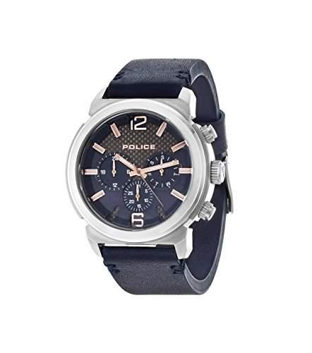 Police Herren-Armbanduhr Chronograph Quarz Leder 14377JS03
