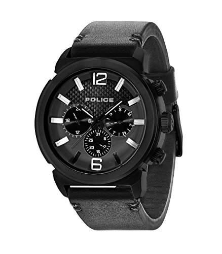 Police Concept Herren-Quarzuhr mit schwarzem Zifferblatt Chronograph-Anzeige und Lederband schwarz 14377jsb02A