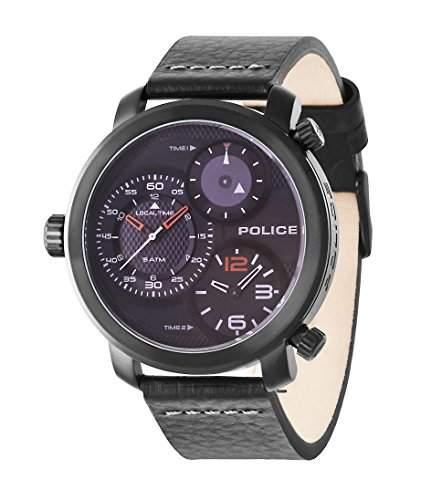 Police Mamba, Herren-Quarzuhr mit schwarzem Zifferblatt Chronograph-Anzeige und schwarzes Lederband 14500X SB02