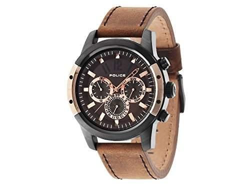 Police Scrambler Herren Quarz-Uhr mit Braun Zifferblatt Chronograph-Anzeige und braun Lederband 14528jsbr12