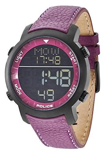 Police Herren-Armbanduhr XL CYBER Digital Quarz Leder P12898JSB-02C