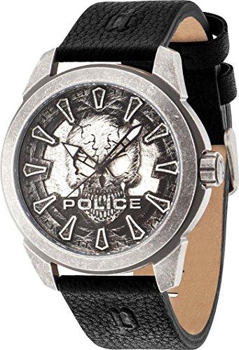 POLICE PL14637JSQS 57A Geschenkbox KINGBOX Uhr Herrenuhr Lederarmband Edelstahl 5 bar Analog schwarz