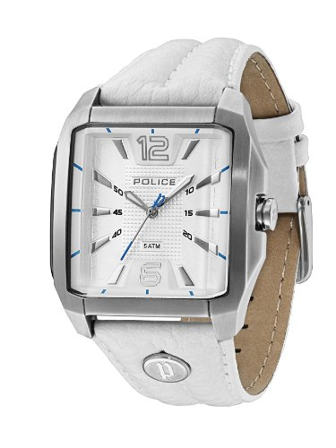 POLICE 13398JS 04 REWIND MENS STAINLESS STEEL WHITE LEATHER BAND ANALOG UHR